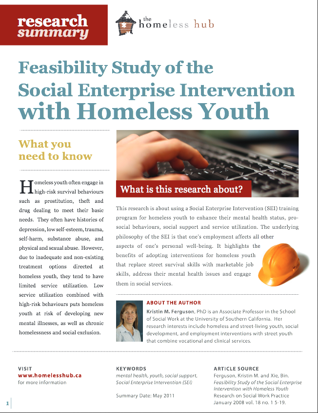 Feasibility Study of the Social Enterprise Intervention with Homeless Youth - Homeless Hub Research Summary