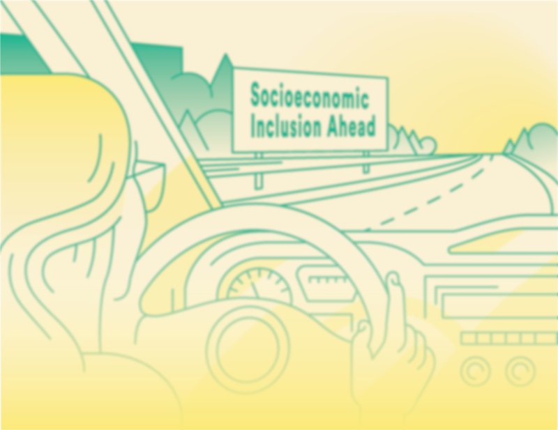 "Graphic of a young person drive a car with a billboard in the distance reading ""social inclusion ahead""."