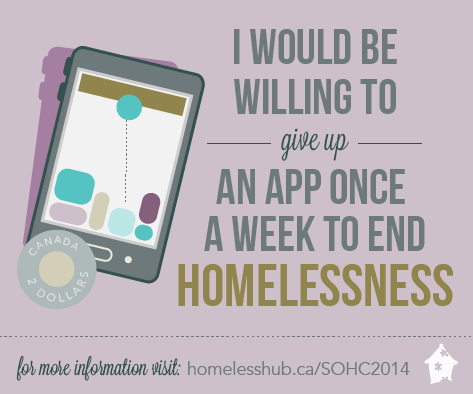 I would be willing to give up an app once a week to end homelessness.