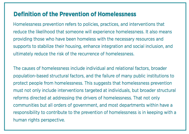 definition of prevention of homelessness