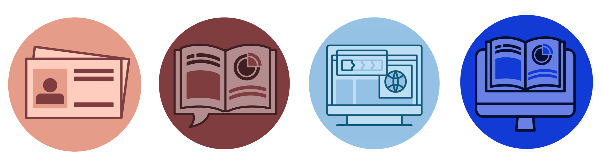 illustrative and colourful icons of the features of the site