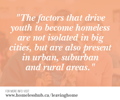 The factors that drive youth to become homeless are not isolated in big cities, but are also present in urban, suburban and rural areas.