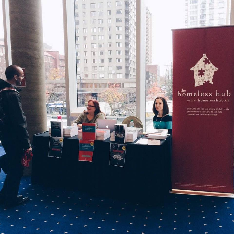 Photo of the Homeless Hub booth at the conference.