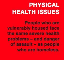Questions de santé physique ─ les personnes qui sont mal logées font face aux mêmes problèmes graves de santé et aux mêmes dangers d'agression que les personnes sans abri.