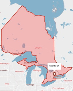 Toronto, Ontario on a map